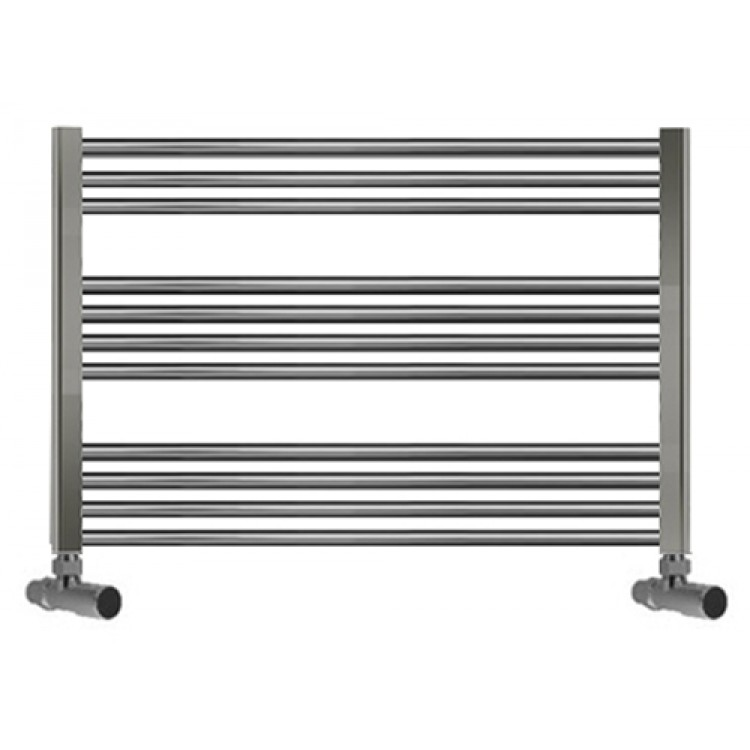 600mm Wide 800mm High Straight Chrome Heated Towel Rail: 750mm Wide 600mm High Towel Radiator Chrome Straight